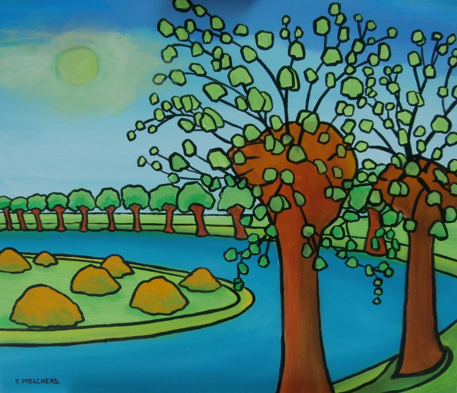 Bomen aan de rivierbocht