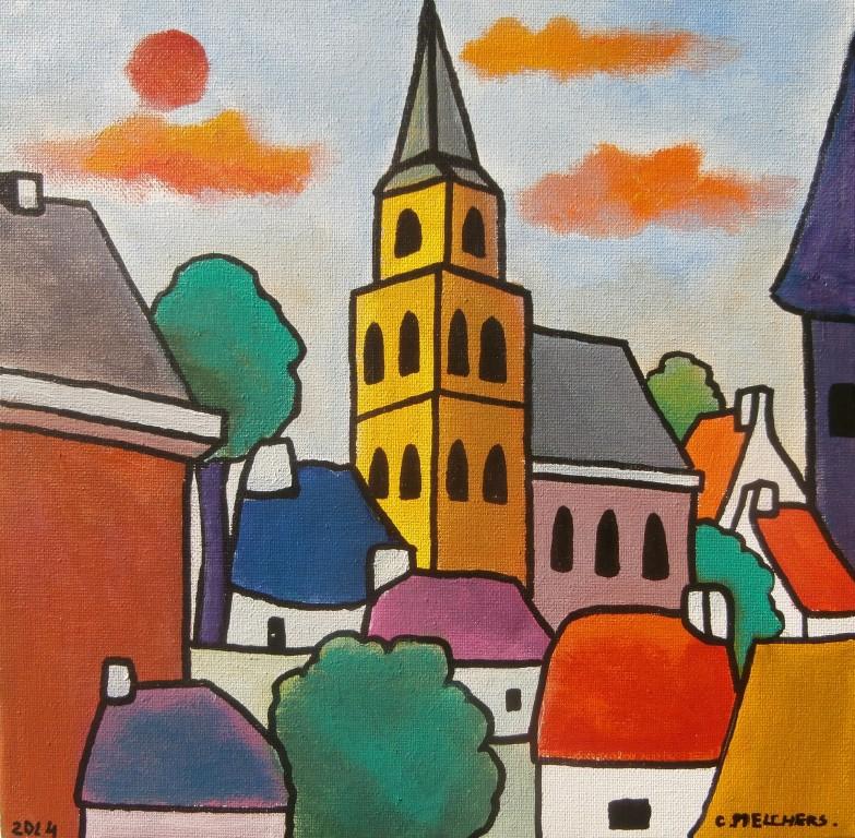 Gele kerk in de stad