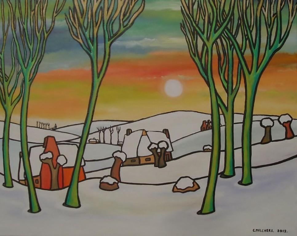 Groene Bomen bij Sneeuwdorp