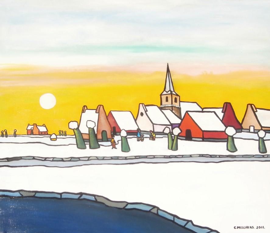 Groene knotwilgen in winters dorp