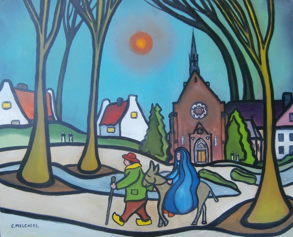 Jozef en Maria op weg door Huissen