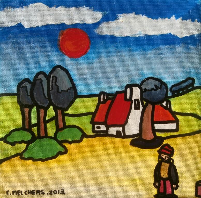 Rode huizen op geel veld