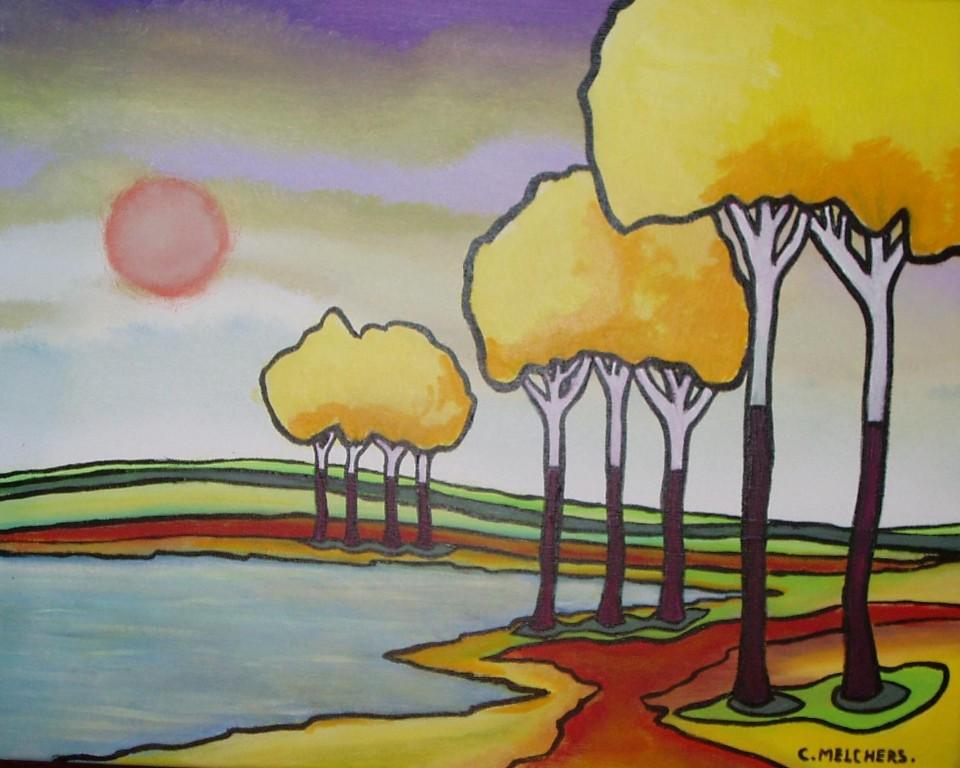 Gele ballonbomen bij een meer