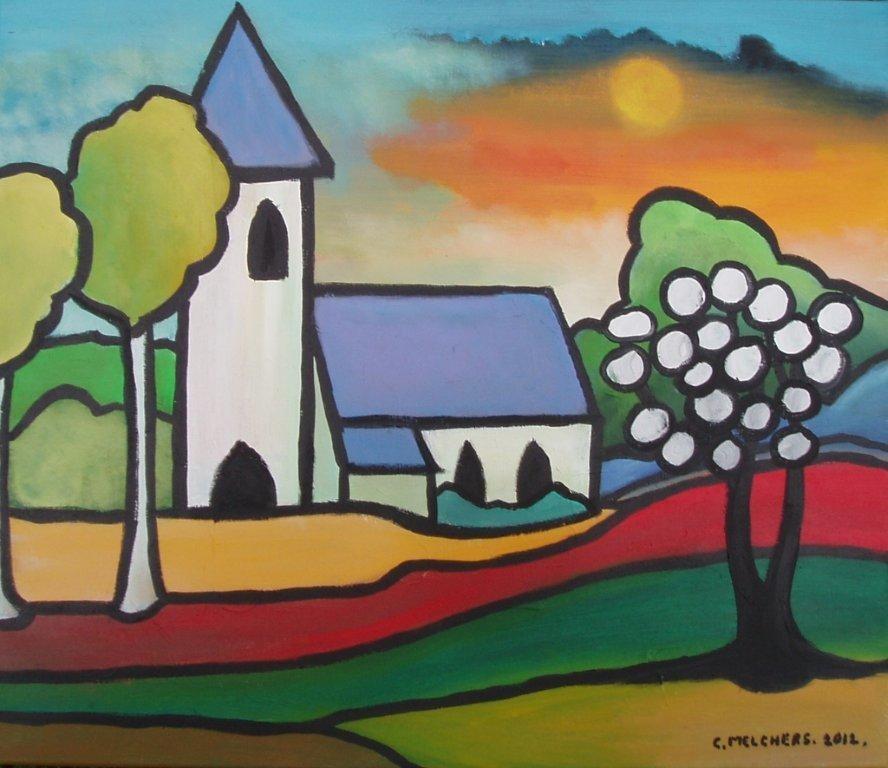 Kerk in bonte kleuren