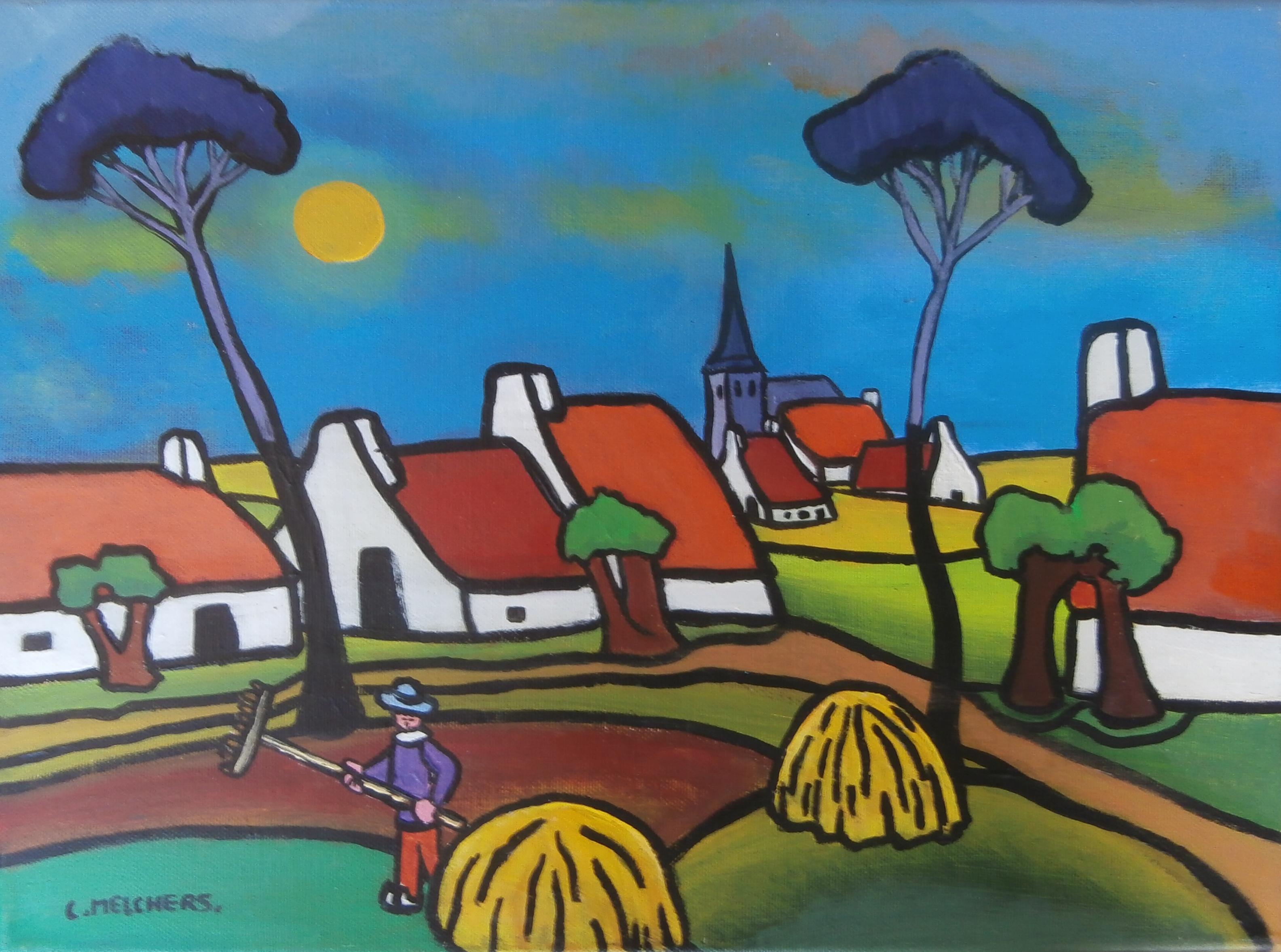 Rood dorp met 2 hooioppers