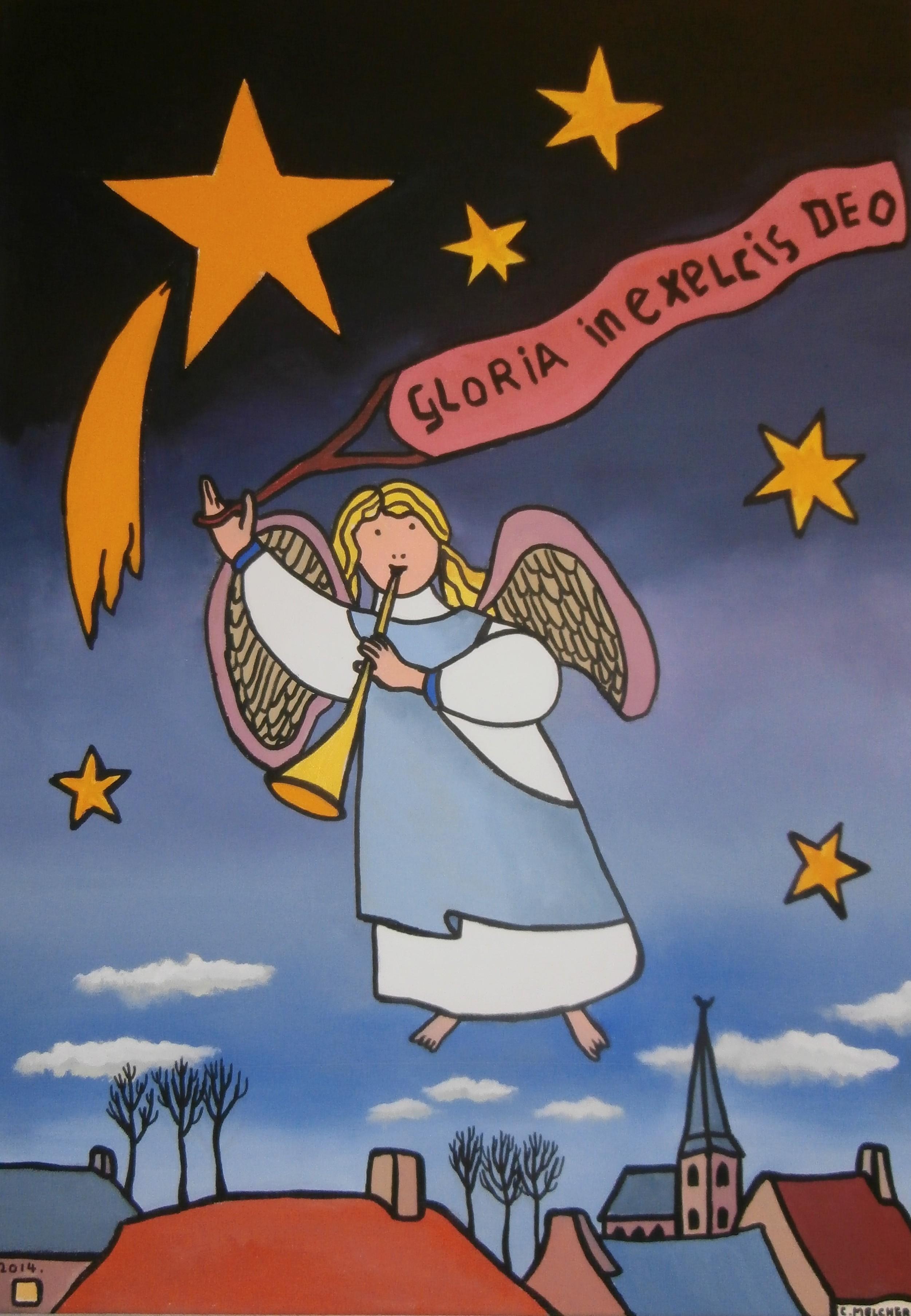 Engelen met Gloria in Excelsis Deo