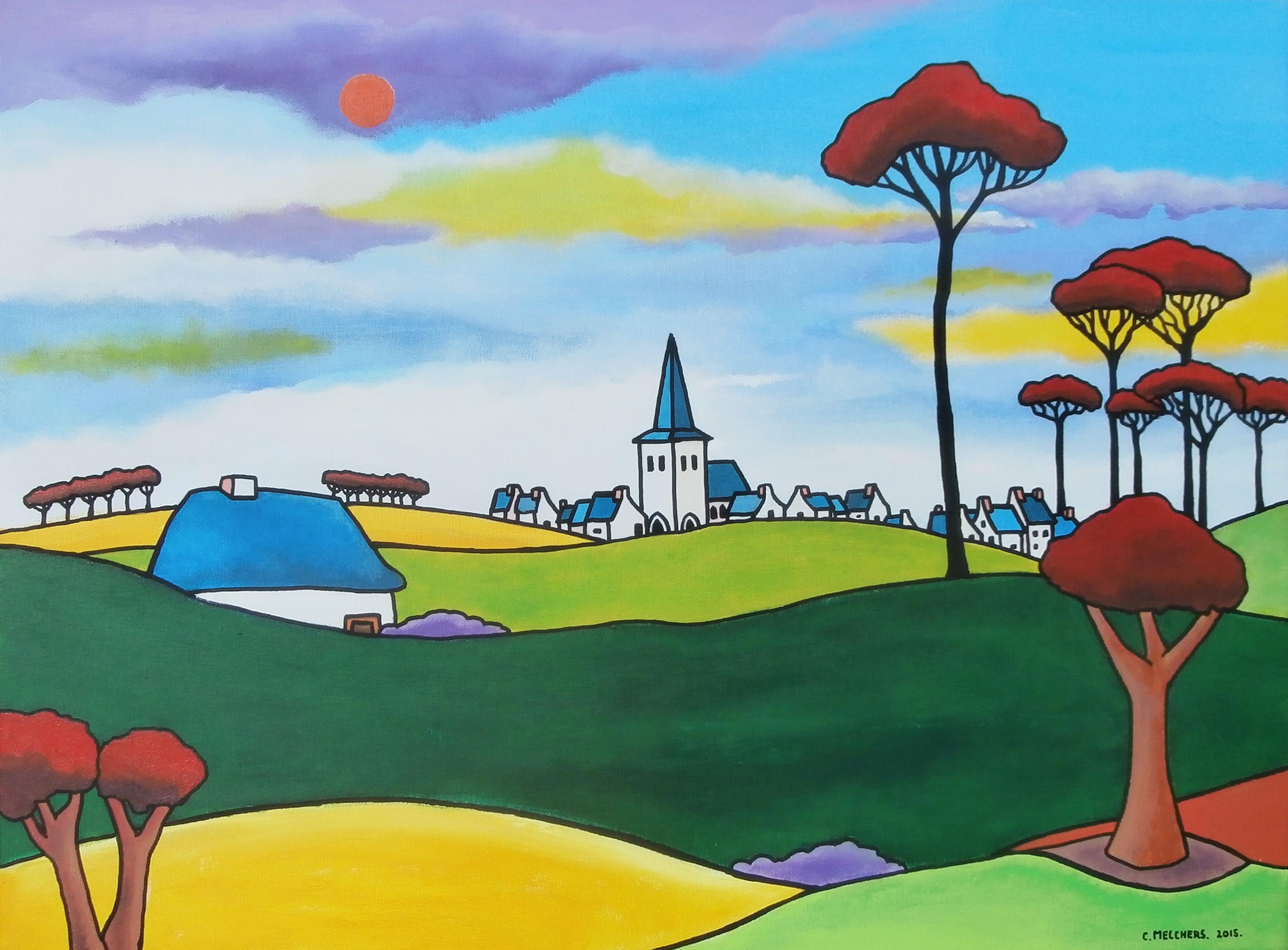 Blauw dorp met rode bomen